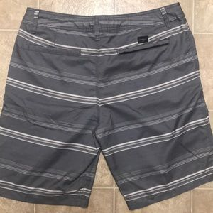 O'Neill Shorts - O'Neill Grey Striped Hybrid Swim Or Casual Shorts.